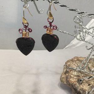 Black Lava Rock & Gold Swarovski Crystal Earrings